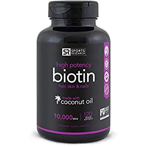 Biotin 10,000mcg with Coconut Oil | Non-GMO & Gluten Free - 120 Mini Veggie Softgels