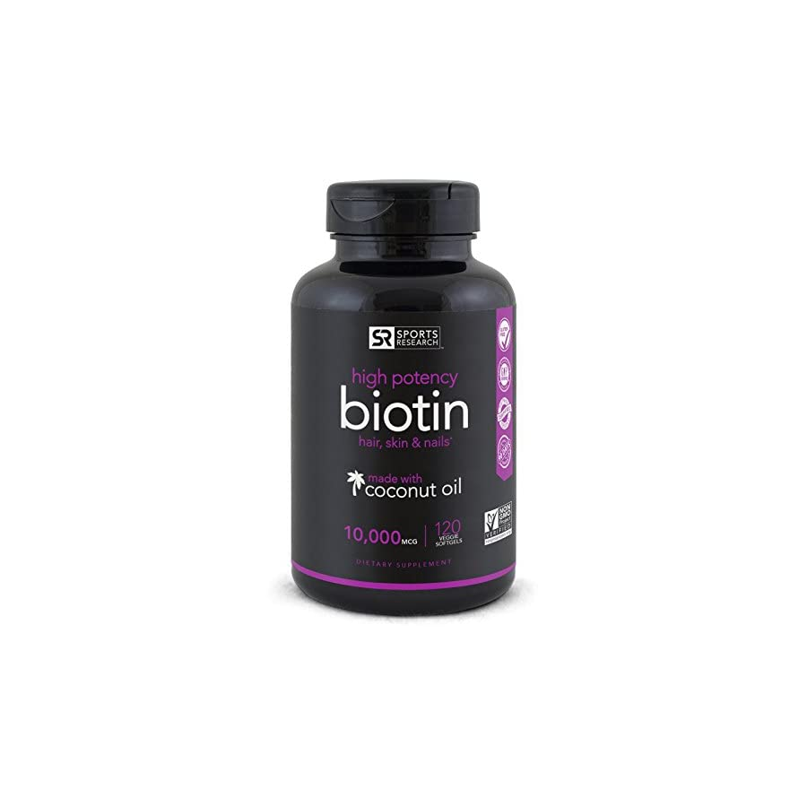 Biotin (10,000mcg) with Organic Coconut Oil | Supports Healthy Hair, Skin & Nails | Non GMO Verified & Vegan Certified (120 Veggie Softgels)