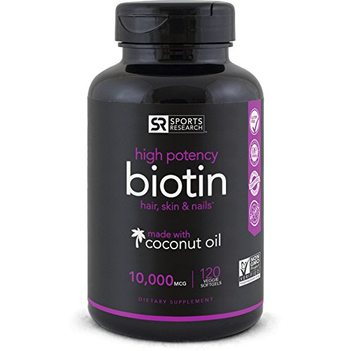 High Potency Biotin (10,000mcg) with Organic Coconut Oil; Supports Hair Growth, Glowing Skin and Strong Nails; 120 Mini Veggie Softgels