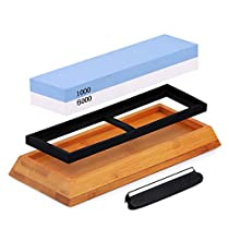 Knife Sharpening Stone Whetstone, 2-Sided Professional Grade Waterstone Blade Sharpener, 1000/6000 Grits, Includes Non-Slip Base and AngleGuide