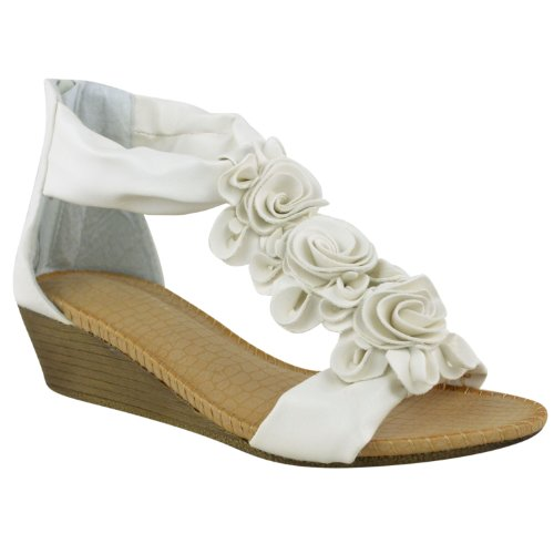 Fashion Thirsty Womens Low Mid Wedge Heel Sandals Wedding Shoes Beaded Wedding Size 8