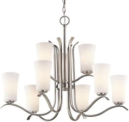 Kichler 43075NI Armida Chandelier 9-Light, Brushed Nickel