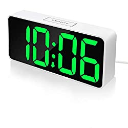 9 Large LED Digital Alarm Clock with USB Port for Phone Charger, 0-100% Dimmer,Touch-Activated Snooze, Outlet Powered Simple Seniors Green Alarm Clocks for Bedrooms Bedside