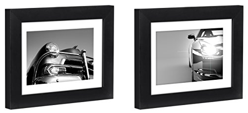 Two Tabletop Frames Made to Display Pictures Sized 4x6 inches with Mat and 5x7 inches without Mat - Glass Front, Easel Back, Ready to Display on Desktop and Table Top