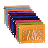 10 Pack 3-Ring Zippered Pencil Pouch Ring Binder Pencil Pouch Pencil Bag with Transparent Plastic Window Binder Pocket Case Office School Student Classroom Stationery Bag