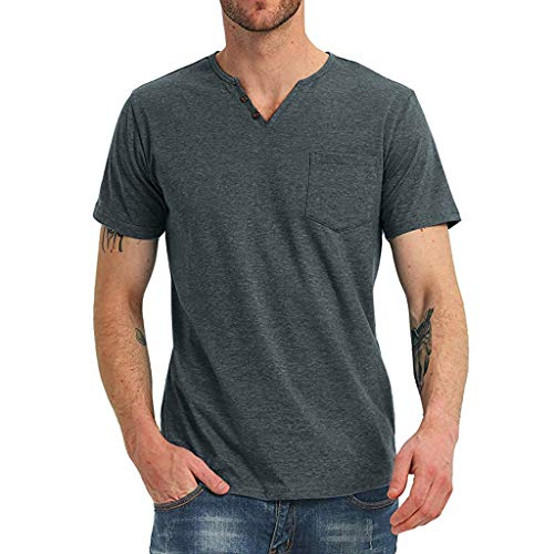(TANGSen Men's Summer V-Neck Top Solid Fashion Casual Simple Pure Short Sleeves Comfortable Blouse Tops Blue)