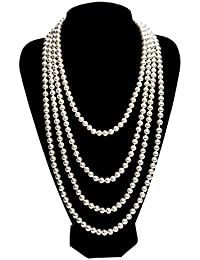 1920s Pearls Necklace Gatsby accessories Vintage Costume Jewelry Faux Ivory Pearl Cream Long Necklace For Women