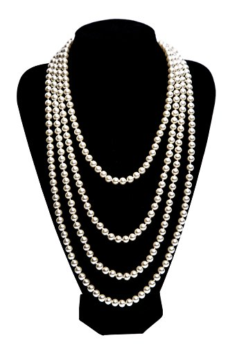 Kathyclassic 1920s Pearls Necklace Gatsby accessories Vintage Costume Jewelry Faux Ivory Pearl Cream Long Necklace For Women (White-1)