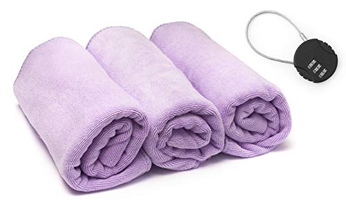 Copper State Fitness Workout Towels Gym Towels for Men & Women, 3-Pack (16x32) - Sweat Towels for Gym, Free Gym Lock - Microfiber, Anti-Bacterial, Absorbent (Purple)