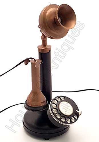 House of Antique Antique Replica Rotary Dial Decorative Candlestick Functional Table Tope Phone.