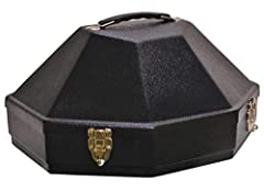 Black| Suitable For All 4 1/2 Brim Hats| Crown Up Design| High Impact Molded Construction| Airline Friendly Lockable Latches| Hinges stop at 90deg | Inside Mirror| Adjustable Interior Brackets| M02 PLUS|