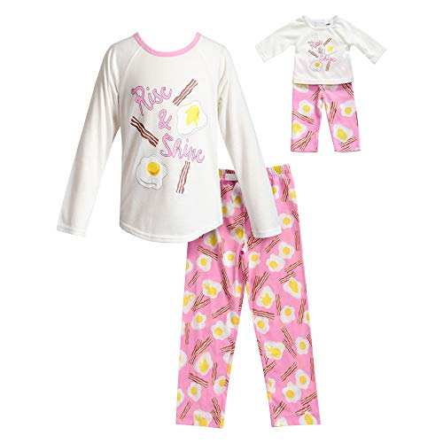 Dollie & Me Girls' Apparel Rise & Shine Art Pajamas with Matching Doll Outfit in, Ivory/Pink Size 4 ()
