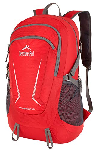 Venture Pal Large 45L Hiking Backpack - Packable Lightweight Travel Backpack Daypack(Red)