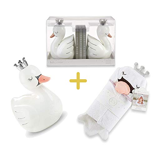 - Swan Princess Porcelain Bank & Bookends & Hooded Towel, Baby Aspen 3 in 1 Baby Registry Essentials for Babies, Newborns, Infants, Toddlers & Kids, Perfect Baby Shower Gift & More