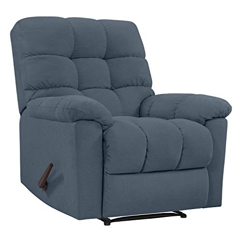 - Domesis Gresham Wall Hugger Reclining Chair in Medium Blue Plush Low-Pile Velvet