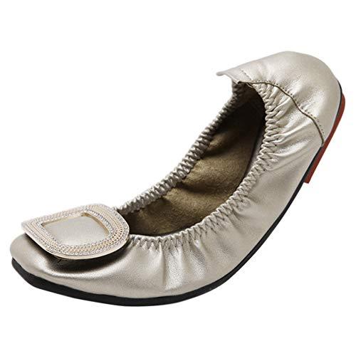 Plat Boucle Strass Ballerines Escarpins Carré Bout Mocassins Marche Confort Doux Chaussures Unique Huatime Glisser Doré Femme Cuir qvYct