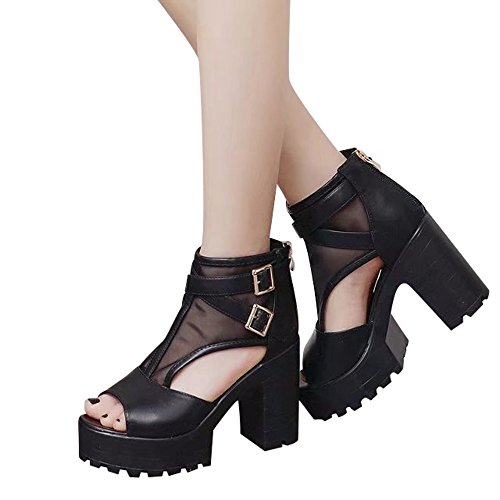 Booties For Womens -Clearance Sale ,Farjing Women Fish Mouth Platform High Heels Wedges Sandals Buckle Strap Shoes Booties(US:6.5,Black)