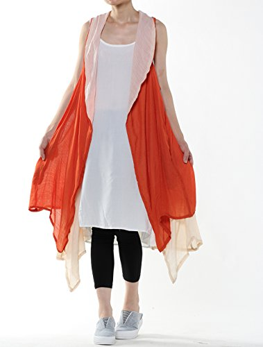 Mordenmiss Women's Contrast Color Long Waistcoat Asymmetry Hem Casual Vest Style 2-Orange by Mordenmiss (Image #2)