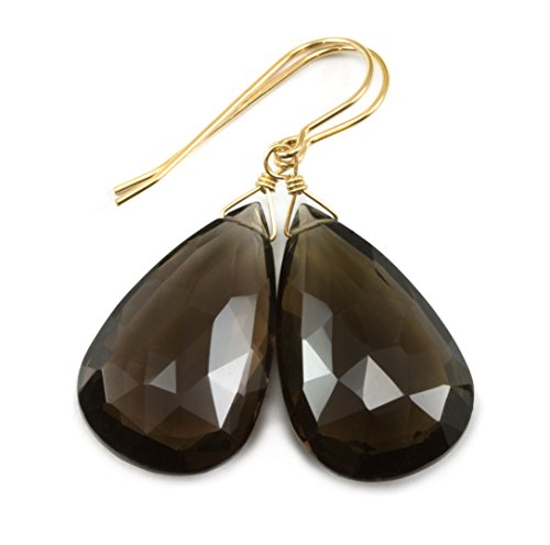 14k Yellow Gold Smoky Quartz Earrings Fat Large Faceted Pear Shaped Smokey Teardrop Briolettes