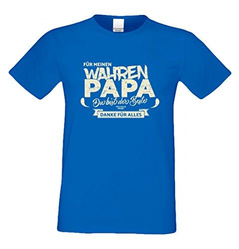 T-Shirt als Geschenk für den Vater - Danke für Alles - Ein Dank für den wahren Papa mit Humor zum Vatertag oder einfach so, Größe XL Farbe 06-Royalblau