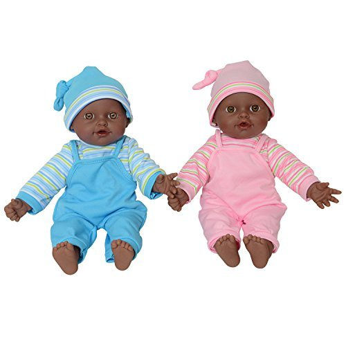 ": The New York Doll Collection 12"" Sweet African American Twin Dolls Play Baby Dolls Full Body African American Twins"