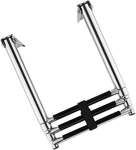 LIANYANG Escalera Telescópica de Extensión Mini Escalera Telescópica Portátil con Soporte,Acero Inoxidable 3 Pasos para Yate de Barco,Capacidad de 330 LB: Amazon.es: Deportes y aire libre