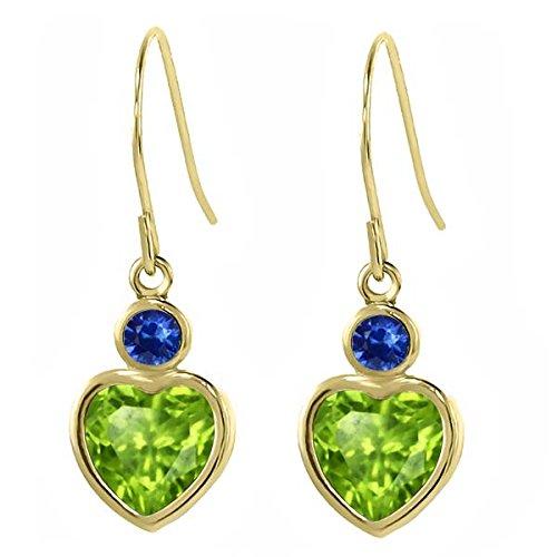 1.92 Ct Heart Shape Green Peridot Blue Sapphire 14K Yellow Gold Earrings
