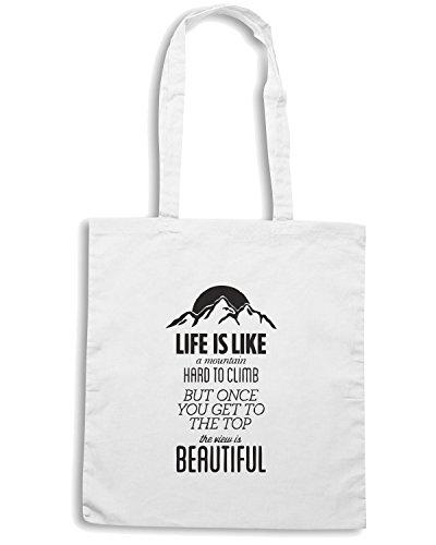 T-Shirtshock - Bolsa para la compra CIT0139 la vita e come una montagna Blanco