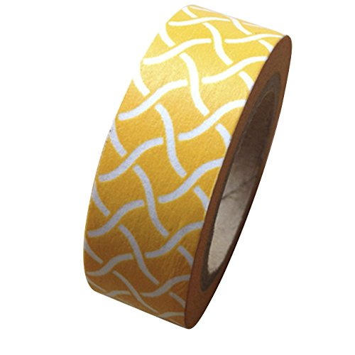 Trellis Stripe - Dress My Cupcake DMC41WT412 Washi Decorative Tape for Gifts and Favors, Yellow Garden Trellis