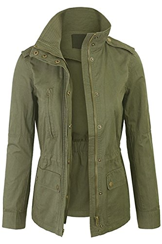 FASHION BOOMY Womens Zip Up Military Anorak Jacket W/Hood (Medium, L-Olive)
