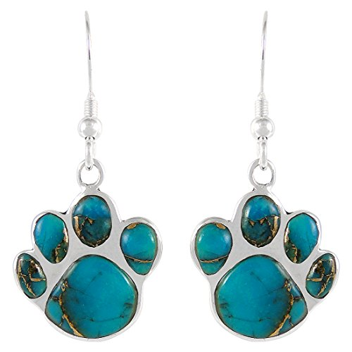 Dog Paw Earrings in Sterling Silver & Genuine Turquoise & Gemstones (Teal/Matrix ()