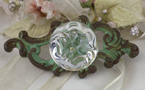 Cast Metal Drawer Pulls (Green Victorian Drawer Pull Knob Wall Acrylic Button Handle Vintage Distress)