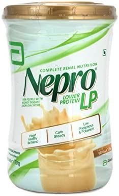 Abbott Nepro LP Powder Vanilla Toffe – Complete Renal Nutrition Carb Steady Lower Protein 400 gms For People with Kidney Disease NON-DIALYZED