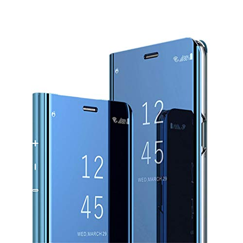 Compatible with Samsung Galaxy S10 Plus Case,Luxury Plating Kickstand Case Smart Clear View Full Coverage Protective case for Galaxy S10E/S10 (Blue, Samsung Galaxy S10 Plus)