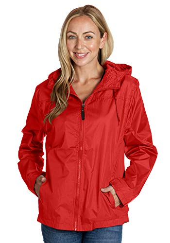 Equipment De Sport USA red Yoga Jackets for Women Full Zip Ladies Hooded Windbreaker (Medium)