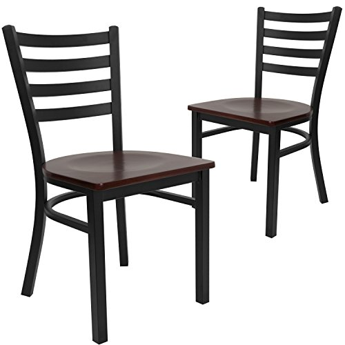 Flash Furniture 2 Pk. HERCULES Series Black Ladder Back Metal Restaurant Chair - Mahogany Wood Seat
