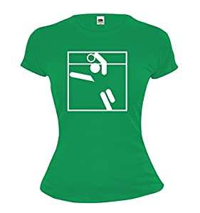 Girlie T-Shirt Faustball-Piktogramm-S-Kellygreen-White