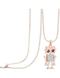 """""""Cute Robot"""" Long Necklace made with Swarovski Crystal For Women Love Gift"""