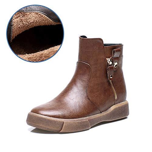 HOESCZS Stiefel Martin Herbst Martin Stiefel Frauen Plus Baumwolle Baumwolle Stiefel Mode Retro Flache Stiefel Studenten Wilde Casual Frauen Stiefel