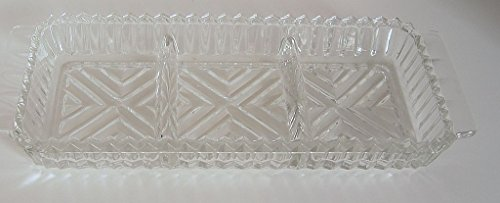 Long Handled Pickle (Vintage Glass Rectangular Sawtooth Handled Relish Tray 3 Part Divided Dish)