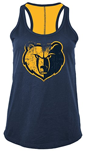 5th & Ocean NBA Memphis Grizzlies Women's Baby Jersey Racer Back Tank with Contrasting Back Yoke, X-Large, Navy ()