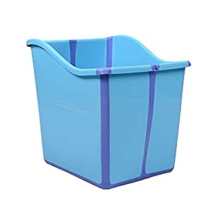 Vogvigo Baby Bath Tub for Child Bathtub for Child Thick Children Tub Bathtub Foldable Tub Portable Bath Basket Safety Non-toxic PP Plastic Sturdy (Light blue)
