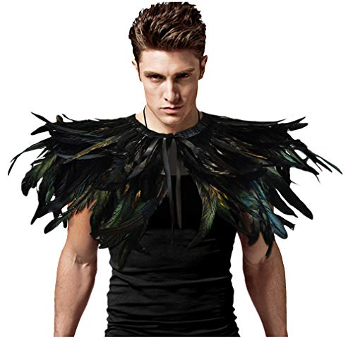 L'vow Gothic Black Feather Shrug Cape Shawl Halloween Costume for Men (Style -04)