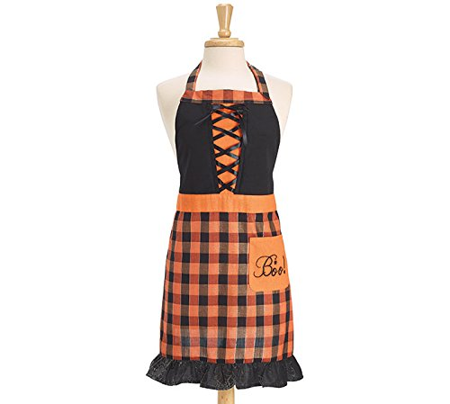 Burton and Burton Halloween Adult Apron Orange and Black Plaid with Corset Design Corset Apron
