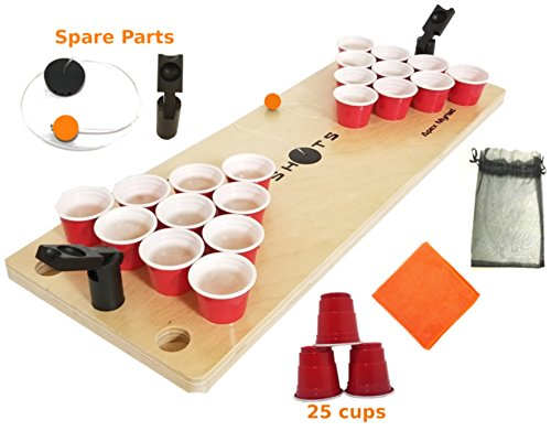 Drinking Beer Games - Mini Beer Pong Game or Juice Pong SHOTS DRINKING GAMES  with SPARE BONUS pieces Classic Adults Party Sports Tailgating