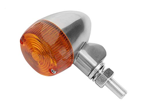 K&S Technologies Polished Aluminum Marker LED Lights - Round #1 with Amber Lens - Two Wire 26-8320