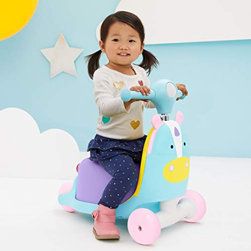 41ZLCaBdNpL - Skip Hop Kids 3-in-1 Ride On Scooter and Wagon Toy, Unicorn