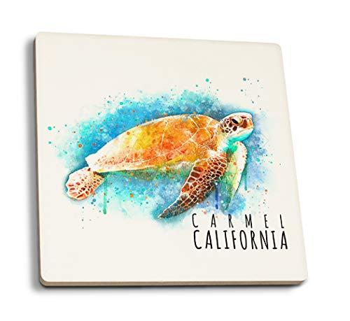 Lantern Press Carmel, California - Sea Turtle - Watercolor (Set of 4 Ceramic Coasters - Cork-Backed, Absorbent)