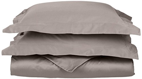 Superior 100% Egyptian Cotton 650 Thread Count, Full/Queen 3-Piece Duvet Cover Set, Single Ply, Solid, Grey (Egyptian Cotton 650 Thread)