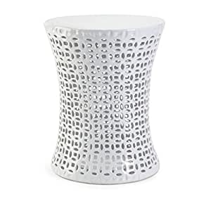 "17.5"" Handcrafted White Ceramic Cut-Out Patterned Outdoor Patio Garden Stool"